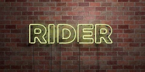 RIDER - fluorescent Neon tube Sign on brickwork - Front view - 3D rendered royalty free stock picture. Can be used for online banner ads and direct mailers..