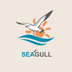 seagull icon with sea waves