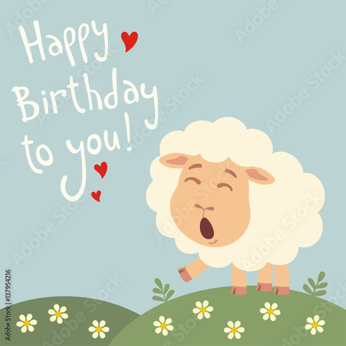 Happy Birthday To You Funny Sheep Sings Birthday Song With Gift In