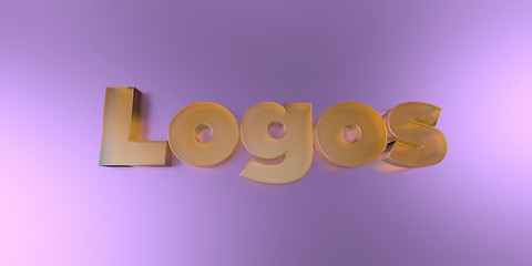 Logos - colorful glass text on vibrant background - 3D rendered royalty free stock image.