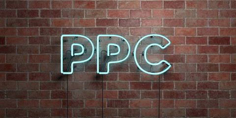 PPC - fluorescent Neon tube Sign on brickwork - Front view - 3D rendered royalty free stock picture. Can be used for online banner ads and direct mailers..