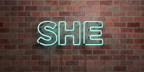 SHE - fluorescent Neon tube Sign on brickwork - Front view - 3D rendered royalty free stock picture. Can be used for online banner ads and direct mailers..