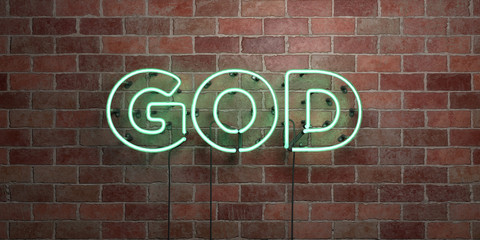 GOD - fluorescent Neon tube Sign on brickwork - Front view - 3D rendered royalty free stock picture. Can be used for online banner ads and direct mailers..
