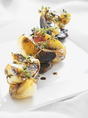 Fried potatoes with onions and thyme
