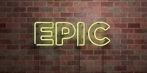 EPIC - fluorescent Neon tube Sign on brickwork - Front view - 3D rendered royalty free stock picture. Can be used for online banner ads and direct mailers..