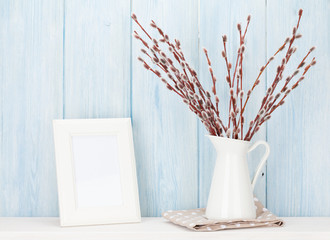 Pussy willow and blank photo frame