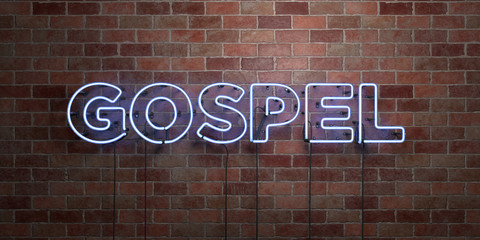GOSPEL - fluorescent Neon tube Sign on brickwork - Front view - 3D rendered royalty free stock picture. Can be used for online banner ads and direct mailers..