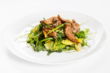 Closeup image of roasted duck at plate with green salad isolated at white background.