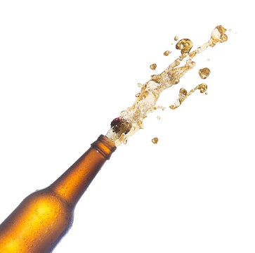 beer bottles with popping corks