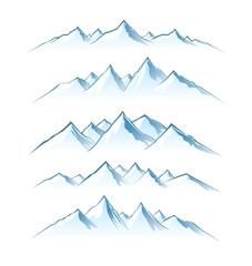 The mountains. Silhouettes of mountain peaks