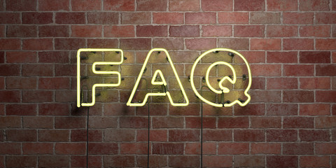 FAQ - fluorescent Neon tube Sign on brickwork - Front view - 3D rendered royalty free stock picture. Can be used for online banner ads and direct mailers..