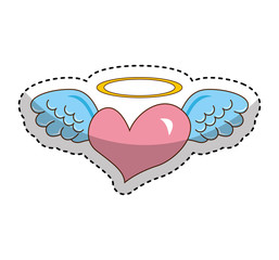 heart with angel wings isolated icon vector illustration design