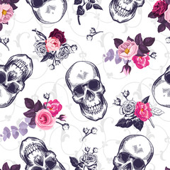Seamless pattern with human skulls and half colored bunches of flowers in woodcut style and baroque ornament on background. Vintage backdrop. Vector illustration for wallpaper, textile print, poster.