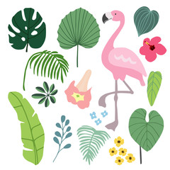 Summer tropical graphic elements with flamingo bird. Jungle floral illustrations, palm and monstera leaves and hibiscus flower, flat design. Isolated stock vectors.
