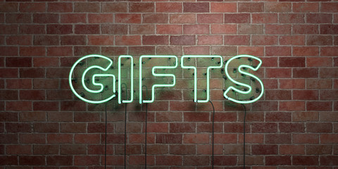 GIFTS - fluorescent Neon tube Sign on brickwork - Front view - 3D rendered royalty free stock picture. Can be used for online banner ads and direct mailers..