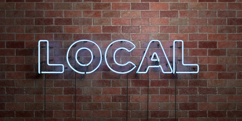 LOCAL - fluorescent Neon tube Sign on brickwork - Front view - 3D rendered royalty free stock picture. Can be used for online banner ads and direct mailers.. Wall mural