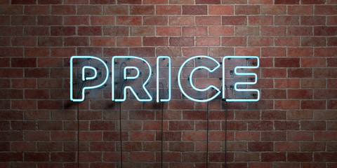PRICE - fluorescent Neon tube Sign on brickwork - Front view - 3D rendered royalty free stock picture. Can be used for online banner ads and direct mailers..
