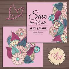 1Wedding invitation card suite with flower Templates.Vector Illustration