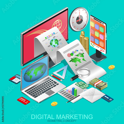 Isometric Digital Marketing Business Process Financial