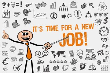 It´s Time for a new Job! / Mann mit Symbole