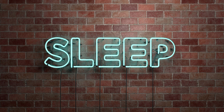 SLEEP - fluorescent Neon tube Sign on brickwork - Front view - 3D rendered royalty free stock picture. Can be used for online banner ads and direct mailers..