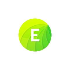 Abstract green circle ecology symbol. Clean organic icon letter E logo sign vector design