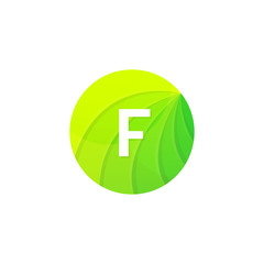 Abstract green circle ecology symbol. Clean organic icon letter F logo sign vector design