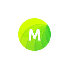 Abstract green circle ecology symbol. Clean organic icon letter M logo sign vector design