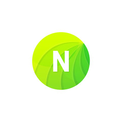 Abstract green circle ecology symbol. Clean organic icon letter N logo sign vector design