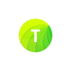 Abstract green circle ecology symbol. Clean organic icon letter T logo sign vector design