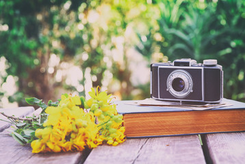 old book, vintage photo camera next to field flowers