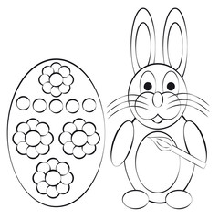 Coloring book rabbit with egg on white background
