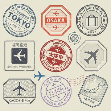 Travel stamps or adventure symbols set, Japan airport theme