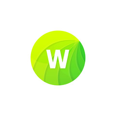 Abstract green circle ecology symbol. Clean organic icon letter W logo sign vector design