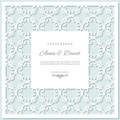 Wedding invitation card template with laser cutting frame. Pastel blue and white colors.