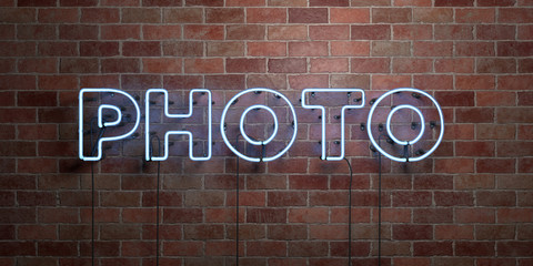 PHOTO - fluorescent Neon tube Sign on brickwork - Front view - 3D rendered royalty free stock picture. Can be used for online banner ads and direct mailers..