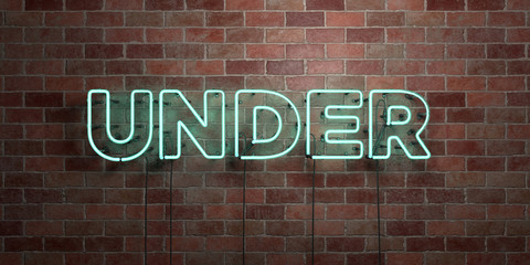 UNDER - fluorescent Neon tube Sign on brickwork - Front view - 3D rendered royalty free stock picture. Can be used for online banner ads and direct mailers..