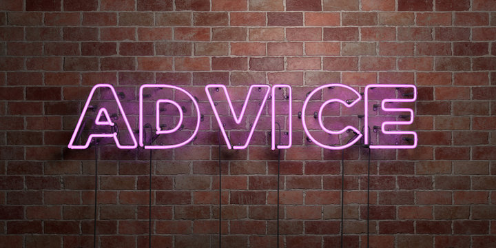 ADVICE - fluorescent Neon tube Sign on brickwork - Front view - 3D rendered royalty free stock picture. Can be used for online banner ads and direct mailers..