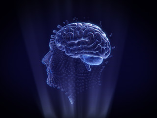 Human face and brain Hologram Wireframe Style.3D rendering