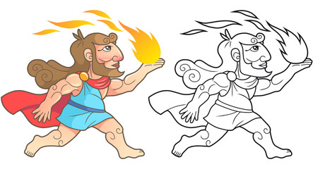 Greek god Prometheus brings fire people