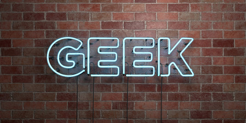 GEEK - fluorescent Neon tube Sign on brickwork - Front view - 3D rendered royalty free stock picture. Can be used for online banner ads and direct mailers..