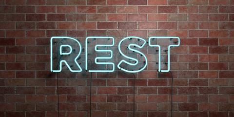 REST - fluorescent Neon tube Sign on brickwork - Front view - 3D rendered royalty free stock picture. Can be used for online banner ads and direct mailers.. Wall mural