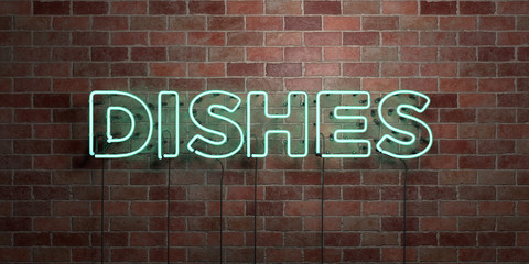 DISHES - fluorescent Neon tube Sign on brickwork - Front view - 3D rendered royalty free stock picture. Can be used for online banner ads and direct mailers..