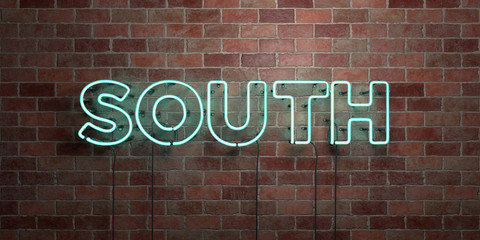 SOUTH - fluorescent Neon tube Sign on brickwork - Front view - 3D rendered royalty free stock picture. Can be used for online banner ads and direct mailers..