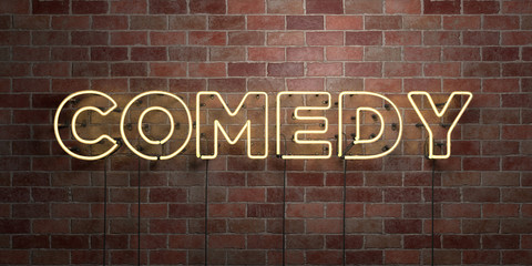 COMEDY - fluorescent Neon tube Sign on brickwork - Front view - 3D rendered royalty free stock picture. Can be used for online banner ads and direct mailers..