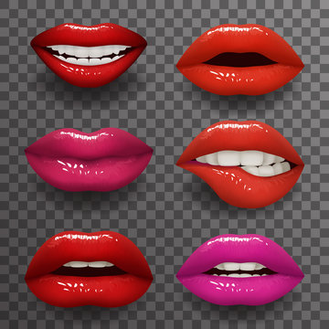Woman lips stylish slightly open mouth isolated 3d realistic fashion mockup transparent background design vector illustration