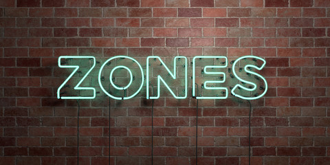 ZONES - fluorescent Neon tube Sign on brickwork - Front view - 3D rendered royalty free stock picture. Can be used for online banner ads and direct mailers..
