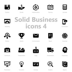 Set of black solid business icons isolated on light background.