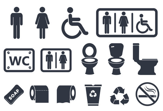 toilet vector icons set, male or female restroom wc