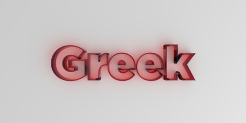 Greek - Red glass text on white background - 3D rendered royalty free stock image.